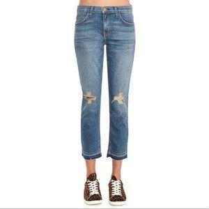 Current/Elliott Crop Straight Distressed Jeans